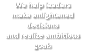 We help leaders make enlightened decisions and realize ambitious goals